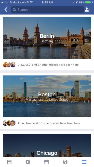Facebook тестирует в мобильном приложении путеводитель по городам